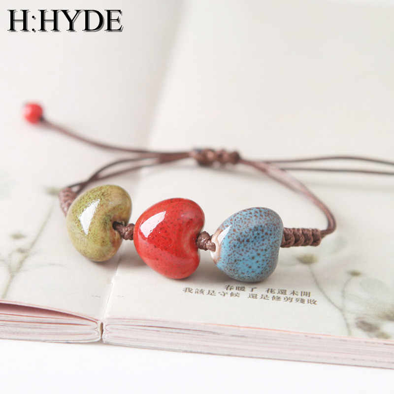 H:HYDE 4 Style Geometry Heart Shaped vintage beads lady bracelet Bohemia Ceramic stone charm women Bangle fashion christmas gift