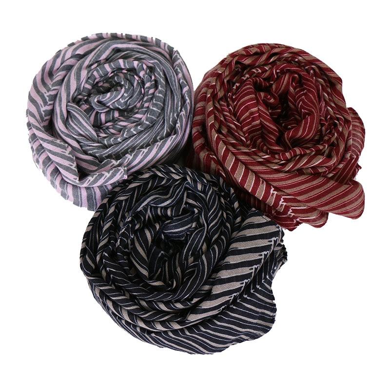 High quality cotton printe geometric hijab scarf headband stripe scarves shawls islamic warps autumn muslim scarves