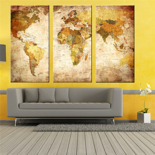 Modern Style 3 Panel Vintage World Map Canvas Painting Oil Paintings ...