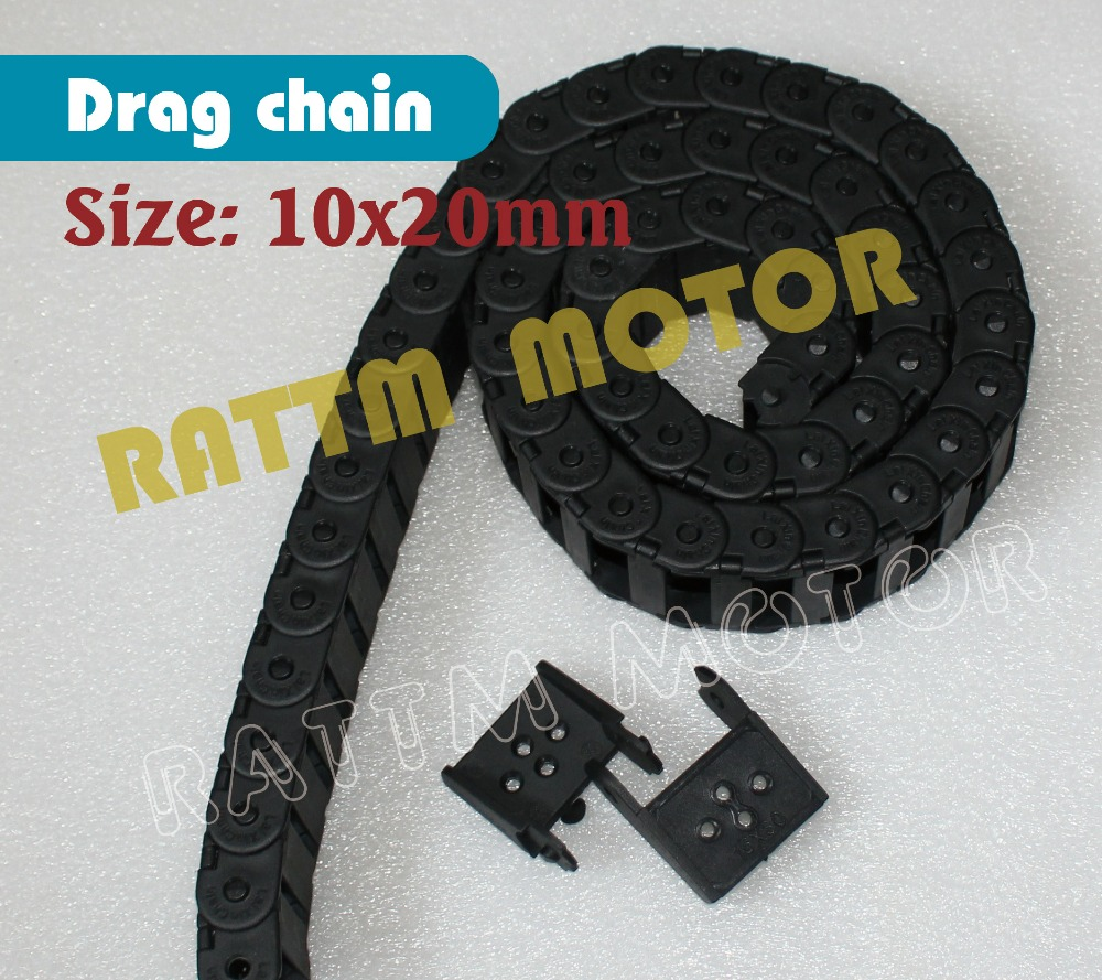 2M 10 x 20mm Cable drag chain wire carrier R28 with end connectors plastic towline for CNC Router Machine Tools 2x1000mm
