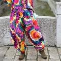 Original Design Elastic Waist Harem Pants Women Printing Long Indian Pants Cotton Linen Baggy Bloomers Butterfly Pants