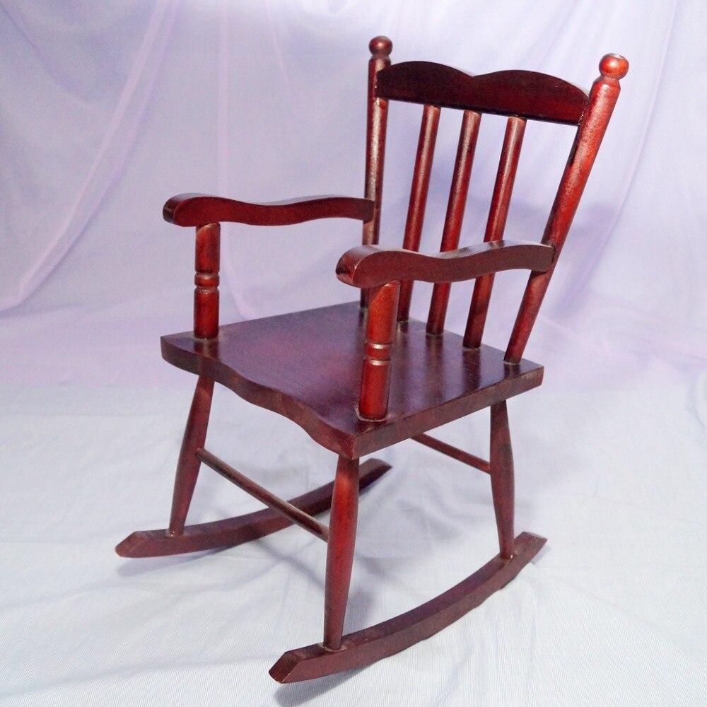BJD Mini meubles en bois chaise à bascule rouge pour 1/3 24