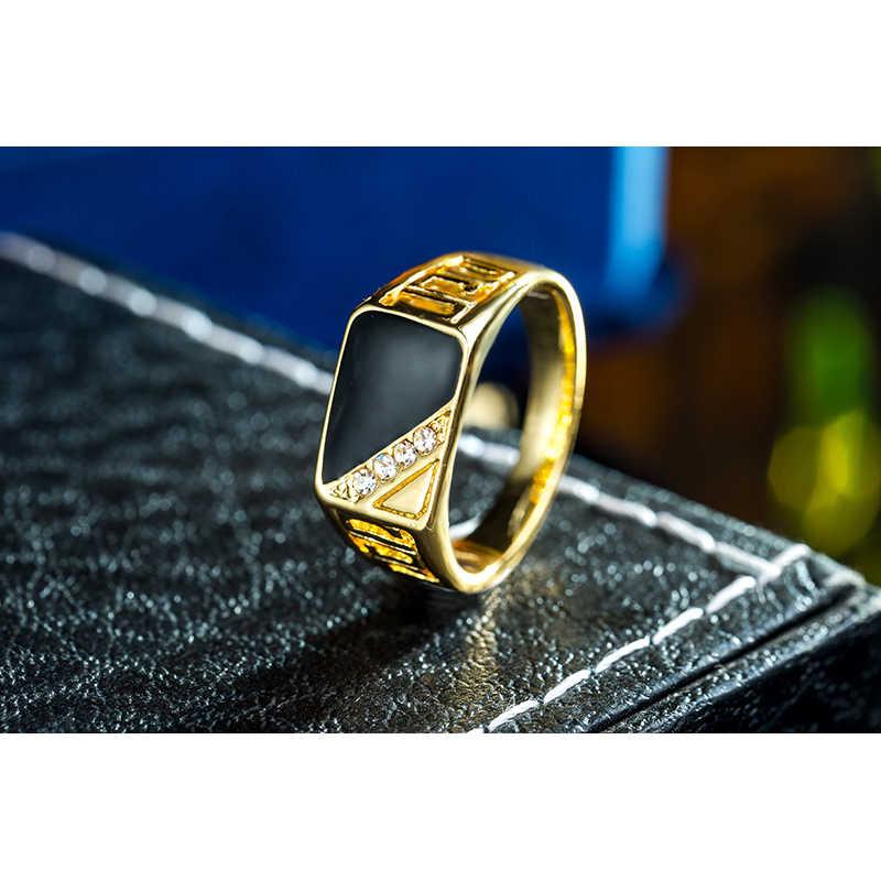Ajojewelサイズ 7-12 古典的なゴールド色のラインストーン男性リング黒エナメル男性指輪ベストセラー