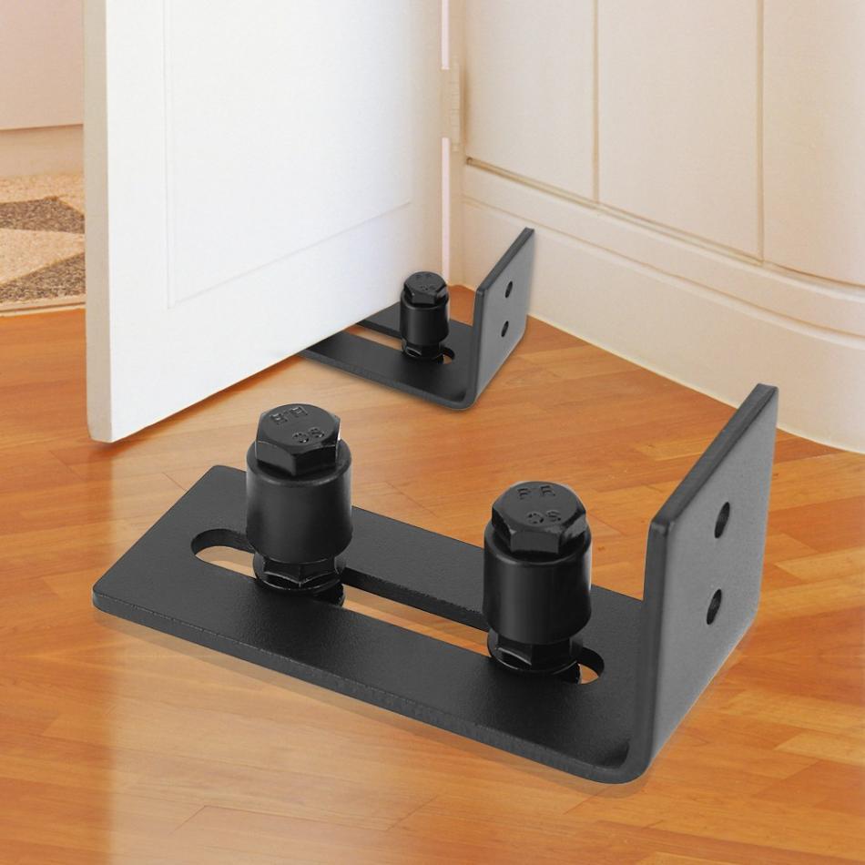 Carbon Steel Roller Guide Adjustable Wall Floor Roller Guide Bottom Floor Guide Set Adjustable Wheel Sliding Door for Bottom of Color: Black