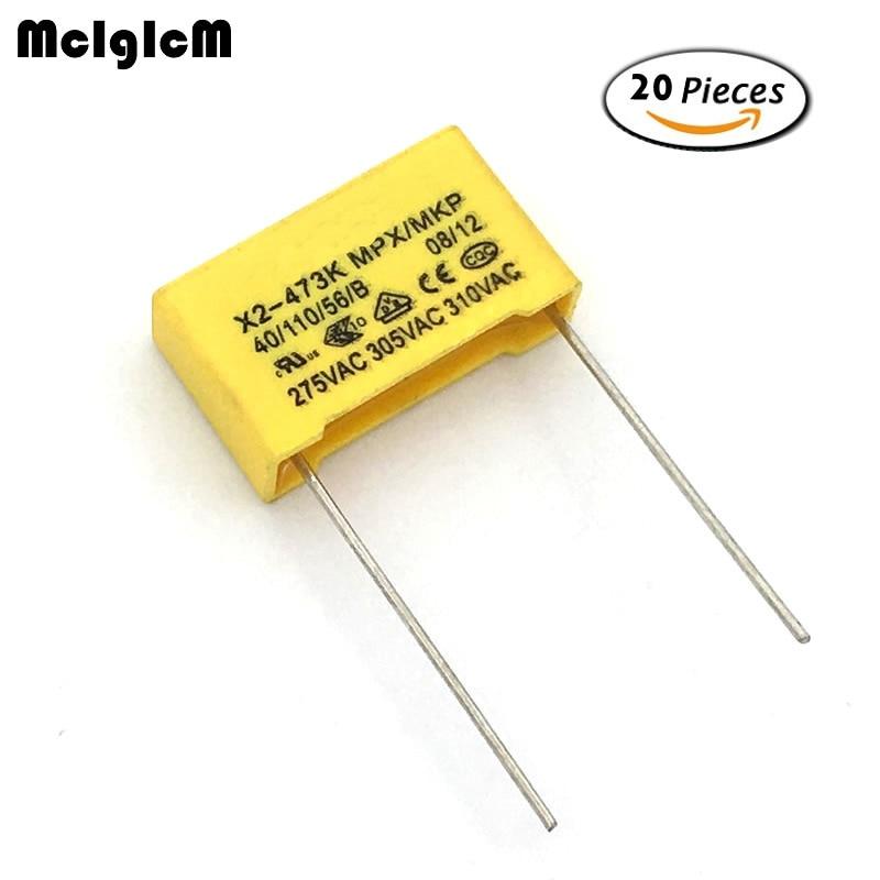 MCIGICM 20pcs 47nF Capacitor X2 Capacitor 275VAC Pitch 15mm X2 Polypropylene Film Capacitor 0.047uF