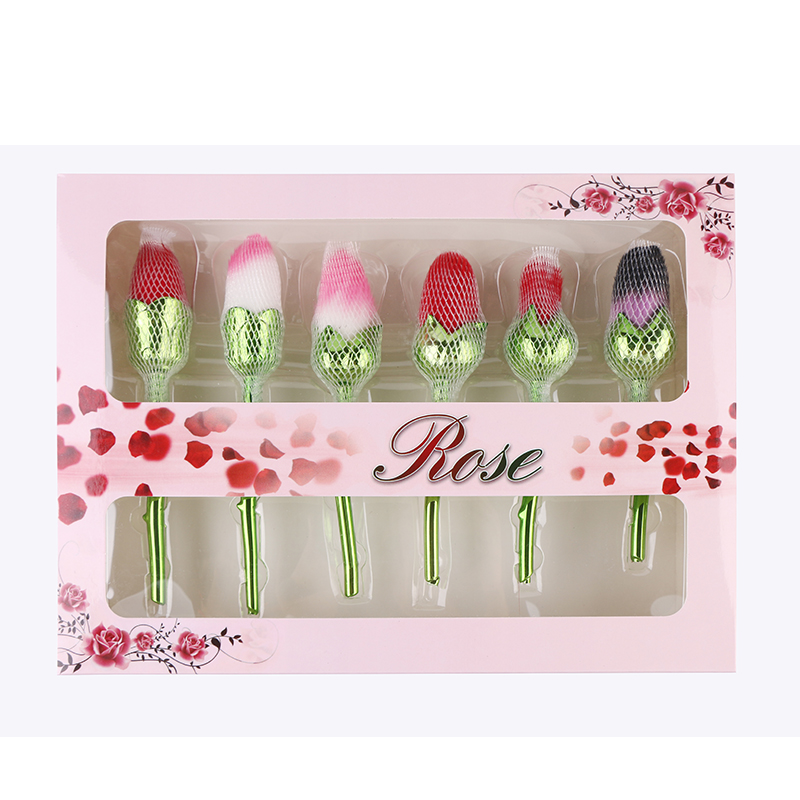 6pcs/set Green Handle Rose Shaped Makeup Brushes Foundation Make Up Brushes Beauty Blush powder Brush Set with retail box hot sale 6pcs set gold rose shaped makeup brushes foundation powder make up brushes blush brush set pincel maquiagem