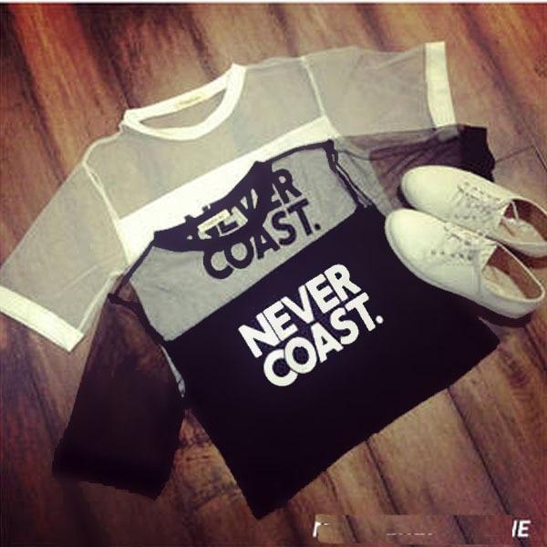 2019 Kadın T-Shirt Kırpma Üst Gömlek Kollu Örgü See-through - Bayan Giyimi - Fotoğraf 5
