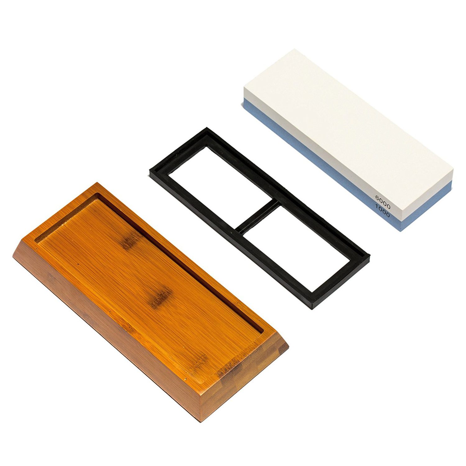 Hot sale Knife Sharpening Stone 2 Side Grit <font><b>1000/6000</b></font> <font><b>Whetstone</b></font> Best Kitchen Knife Sharpener Waterstone with NonSlip Bamboo Ba image