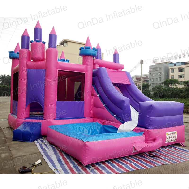 Guangzhou Qinda Princess inflatable bouncy castle with water slide swimming pool kids jumping castle for sale popular best quality large inflatable water slide with pool for kids
