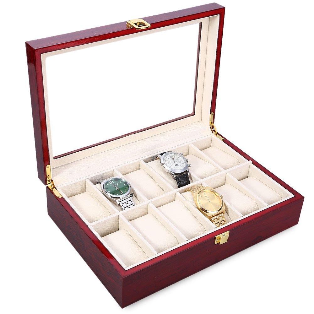 Prix pour Haute Qualité 12 Slots Élégant Bois Montre Vitrine Montres Boîte à Bijoux En Verre Haut De Stockage Organisateur caixa par relogio