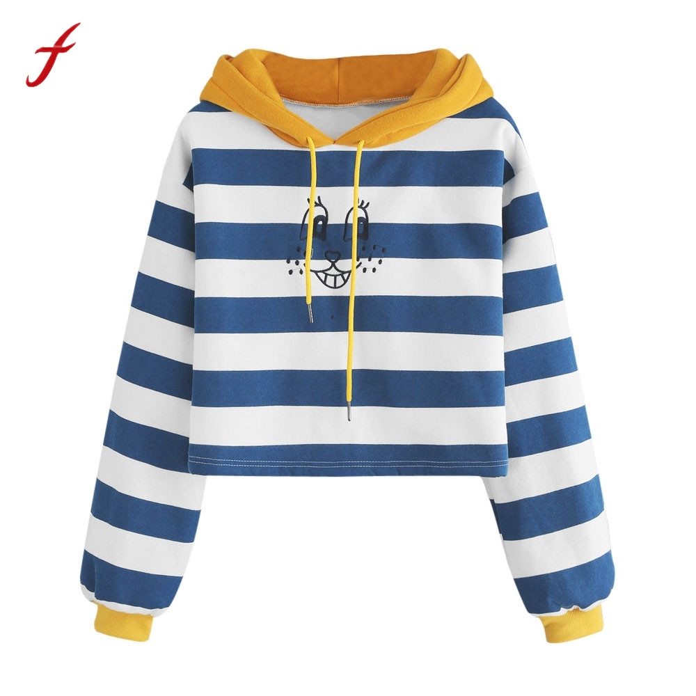 Autumn Winnter Womens Stripe Long Sleeve Christmas Hoodie Sweatshirt High Quality Cotton ...