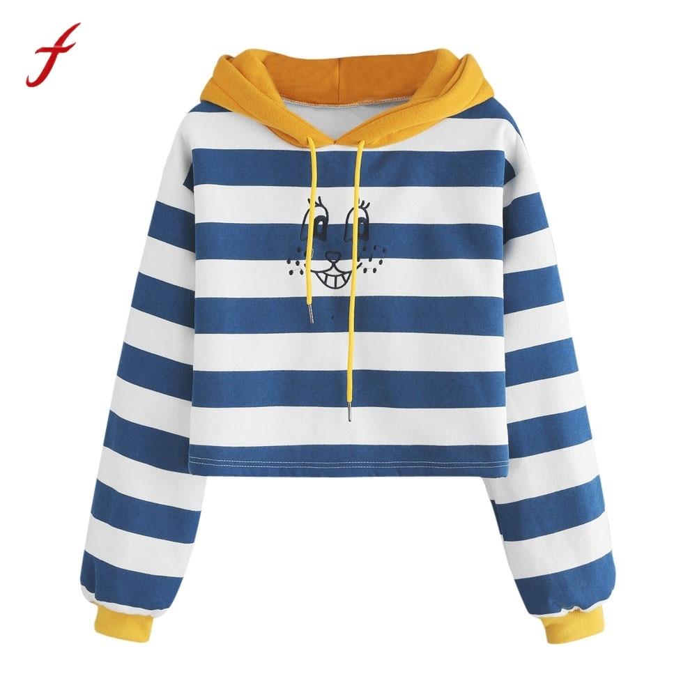 Autumn Winnter Womens Stripe Long Sleeve Christmas Hoodie Sweatshirt High Quality Cotton ...