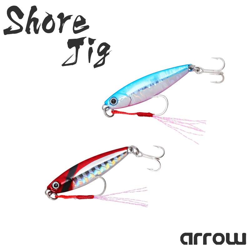 TSURINOYA Shore Jig ARROW 7/14g 42/54mm 4pcs Freshwater Saltwater Fishing Lure Trout Bass Bait Long Casting Metal Lure