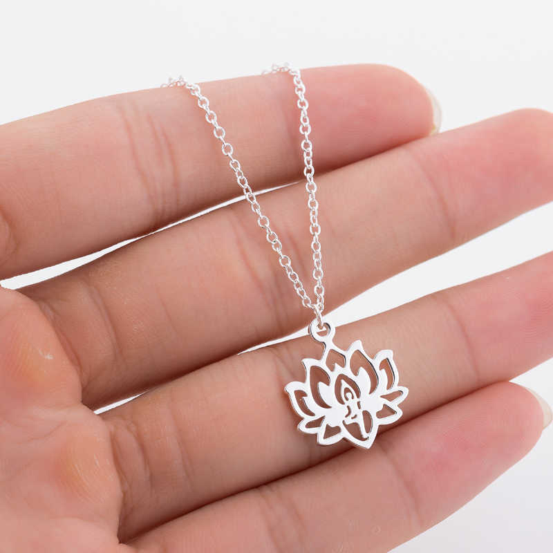 Yoga Lotus Pendant Necklaces Women Stainless Steel Choker Fashion Jewerly 2019 Choker Necklace Long Chain Necklaces
