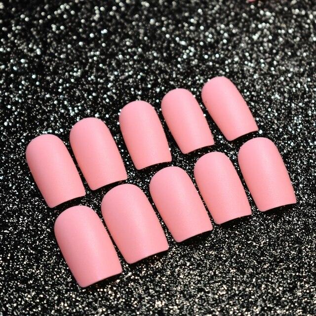 Hot Peach Pink Matte Acrylic Nails Medium Full Cover Flat Fake Nail