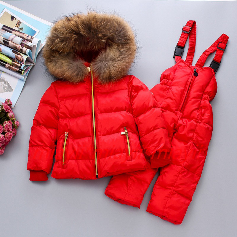 Winter Children Down Jacket with Down Pants 2pcs set Girl Down Jacket Boy Down Coat Natural Fur Collar RED BLUE 2T 4T 6T 8T 10T the children down jacket winter suit pants can open a boy girl down jacket girl down jacket girl boy jacket girls winter coat