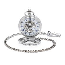 Skeleton Hollow Case Roman Number White Dial Hand Wind Mechanical Mens Pocket Watch W/Chain Antique Vintage Steampunk Watch