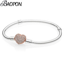 Hot Sale Silver Plated 3mm Basic Snake Chain Fit Pandora Bracelet DIY Charms Beads Jewelry Original Bracelets & Bangle For Women(China)