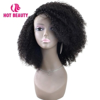 Hot Beauty Hair 360 Lace Frontal Wig Kinky Curly 180 Density Lace Front Wig Brazilian Remy Hair Natural Color Human Hair Wig