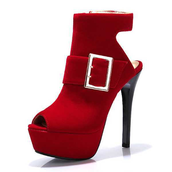 Sandals Half  Shoes Buckle Zipper Thin High Heels Peep Toe Platform Ankle Boots Party Summer Boots