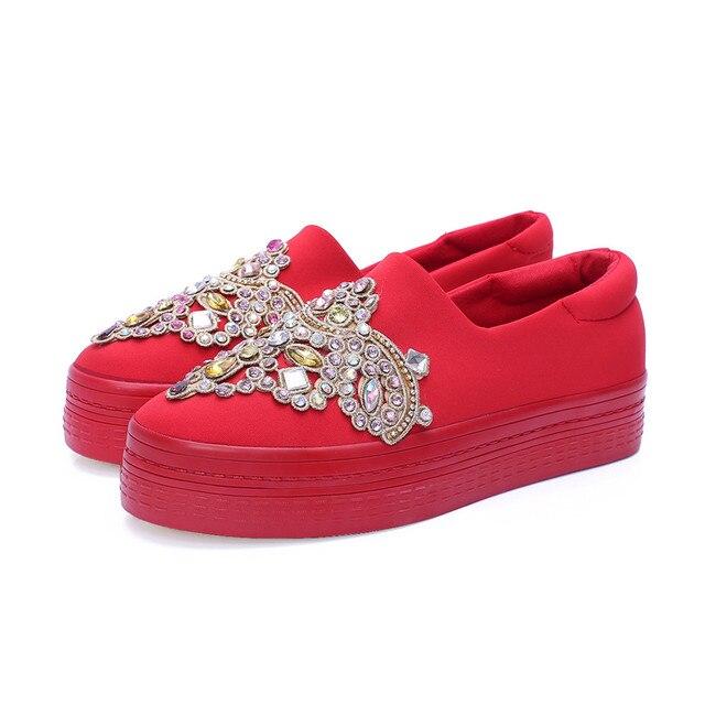 2017 fashion platform wedding shoes Creepers Women Flats Slip On Loafers Platform Flat Shoes Rhinestones Espadrilles Women bride