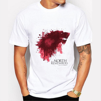 Tshirt Homme 2016 New Game Of Thrones T Shirt Men Cool The North Remembers Blood Wolf