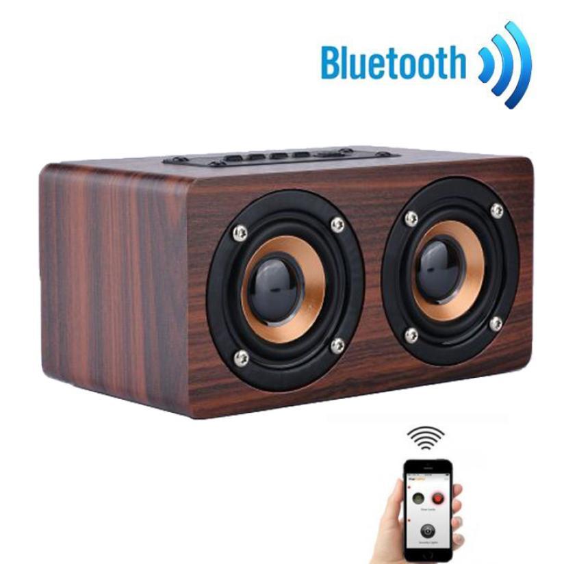 Top Wooden Portable Bluetooth Speaker Wireless Retro Bluetooth Speaker 3D Dual Loudspeaker Surround Mini USB Charging