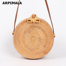 ARPIMALA 2018 Round Straw Bags Women Summer Rattan Bag Handmade Woven Beach Cross Body Bag Circle Bohemia Handbag Bali(China)