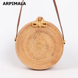 ARPIMALA 2018 Round Straw Bags Women Summer Rattan Bag Handmade Woven Beach Cross Body Bag Circle Bohemia Handbag Bali
