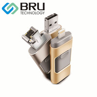 BRU 64 GB OTG USB Flash Drive para iPhone 5/5S/5c/6/6 Plus/ipad OEM Pen Drive de Disco de Memória Presente Personalizado Cópia Do Logotipo Do Laser-Gravado