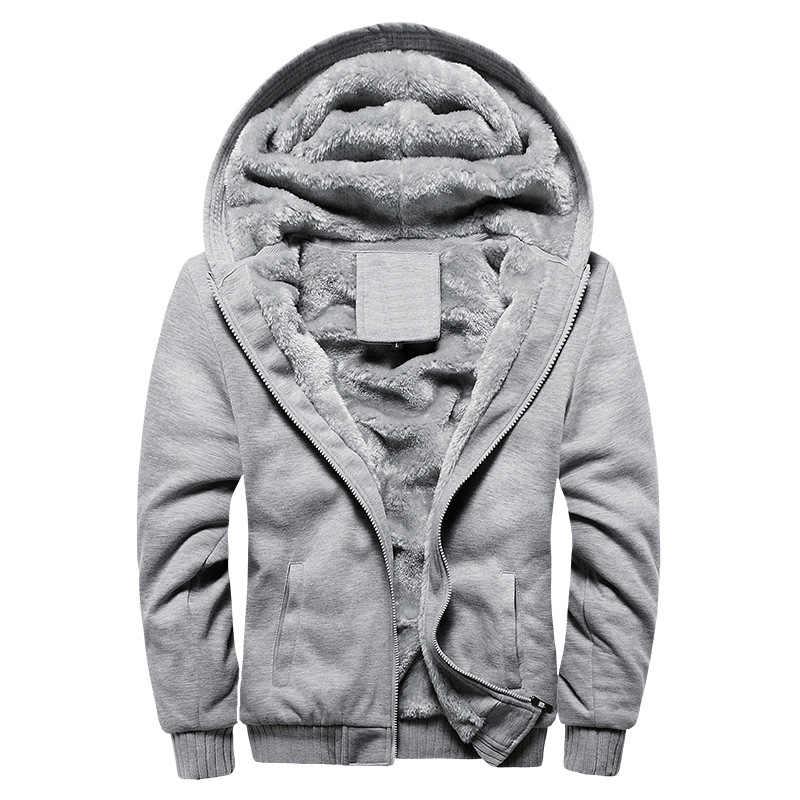 2020 새로운 남성 후드 겨울 두꺼운 따뜻한 양 털 지퍼 남성 후드 코트 Sportwear 남성 Streetwear 후드 티 스웨터 남자 4XL 5XL