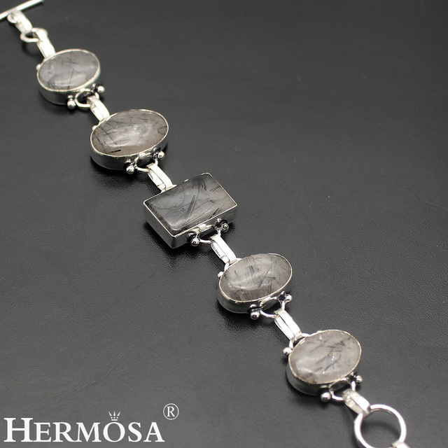 HERMOSA Jewelry elegance Charming natural Black rutilated quartz 925 sterling silver bracelets 8''  HF887
