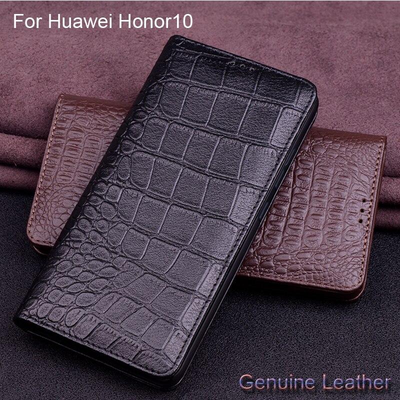 De luxe En Cuir Véritable Motif Crocodile etui téléphone Huawei Honor 10 En Cuir Coque de Protection Mince Couverture Arrière Pour Huawei Honor10