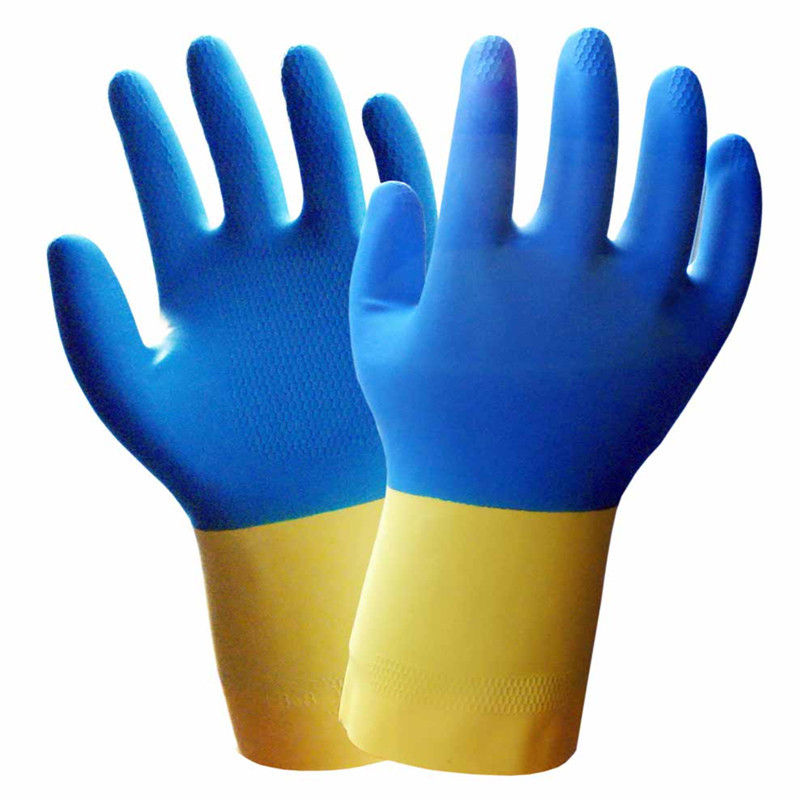 1Pair/Pack Working Glove Rubber 32CM Acid Alkali Ressistant Gloves Oil Resistant Chemical Gloves Cotton Lining anti acid and alkali chemical corrosion fisheries agriculture latex rubber gloves labor supplies black