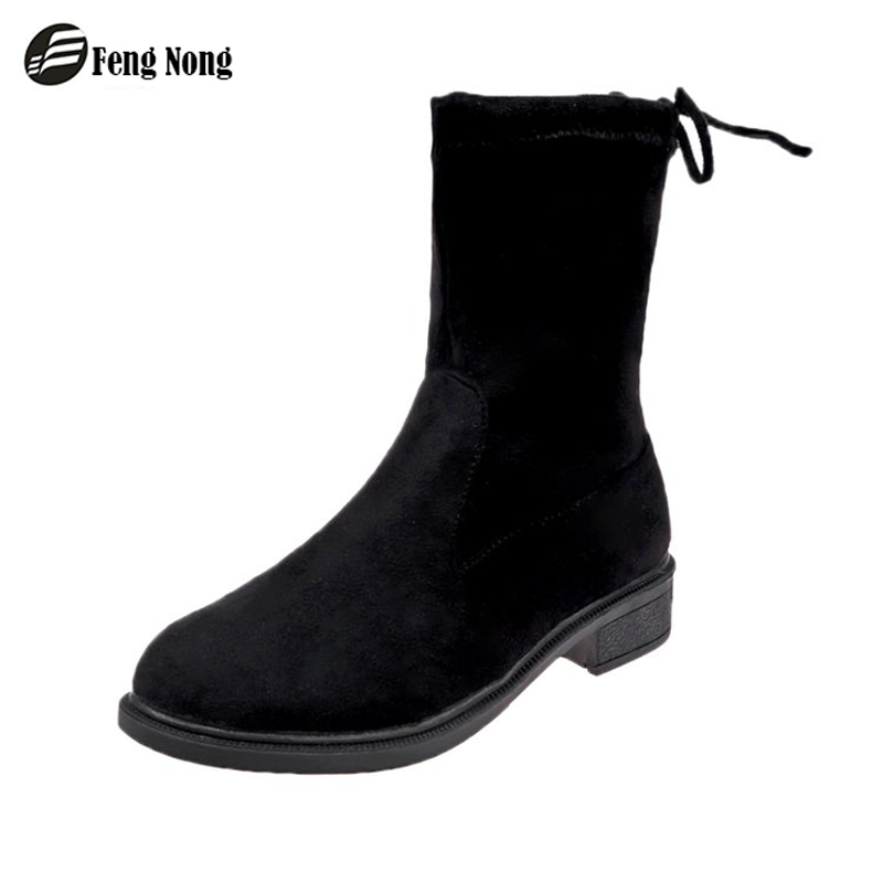 Fengnong Slip On Women Boots Street Outdoor Style Girl's Mid-calf Black Tube Boots Fashion Women Shoes For Students  WBT127
