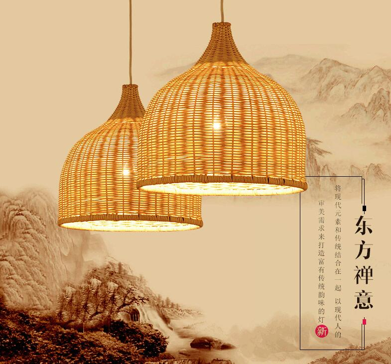 Bamboo Wicker Rattan Shade Pendant Lights Fixture Rustic Japanese Style Tatami Hanging Lamp Lustre Luminaire Dining Table Room цены