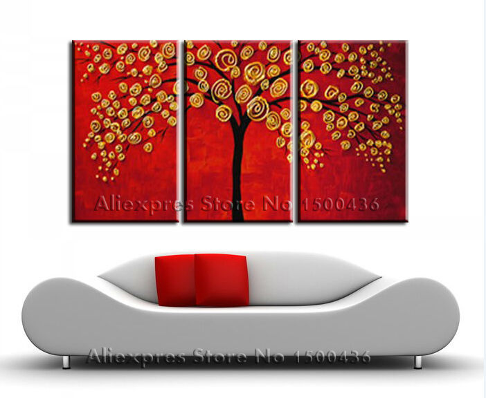 Hand Painted Money Tree Oil Painting Modern Abstract Red Yellow Golden 3 Piece Canvas Art Set Wall Pictures Decoration For Home