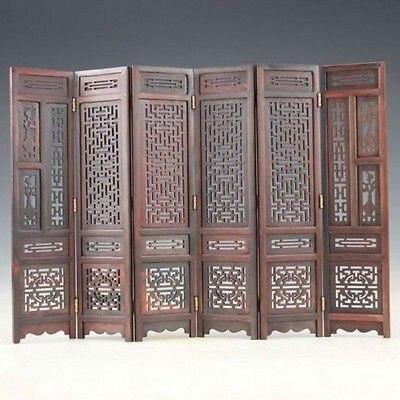 TNUKK Hand-carved Chinese Boxwood & Sculpture Folding Screen