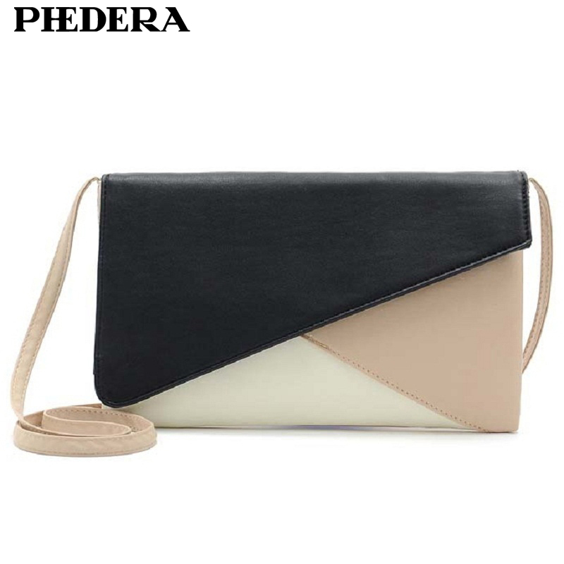 Phedera Envelope Women Clutches Patchwork PU Leather Women Crossbody Bags Stylish Female Messenger Bags Casual Womens Purese