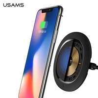 USAMS SEDO אלחוטי טעינה מהירה מטען קטן דקה משטח הר עגן עבור iPhone X Samsung Galaxy S8 Smartphone ללא תשלום תיל