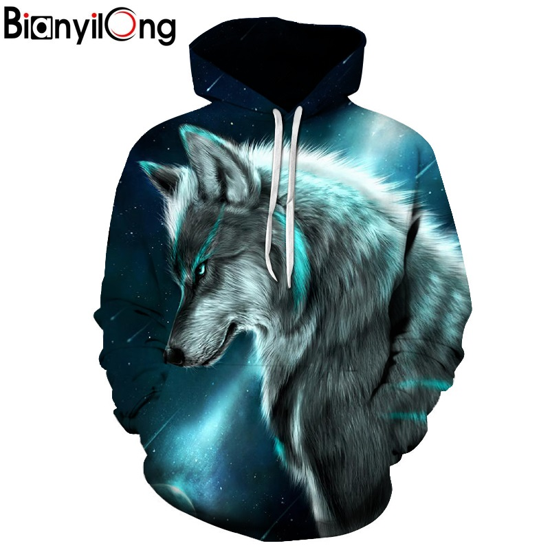 BIANYILONG 2018 Star-headed Wolf Print Hoodies Men 3D Sweatshirt Harajuku Hoody Pullover Tracksuits Streatwear Coat Drop Ship