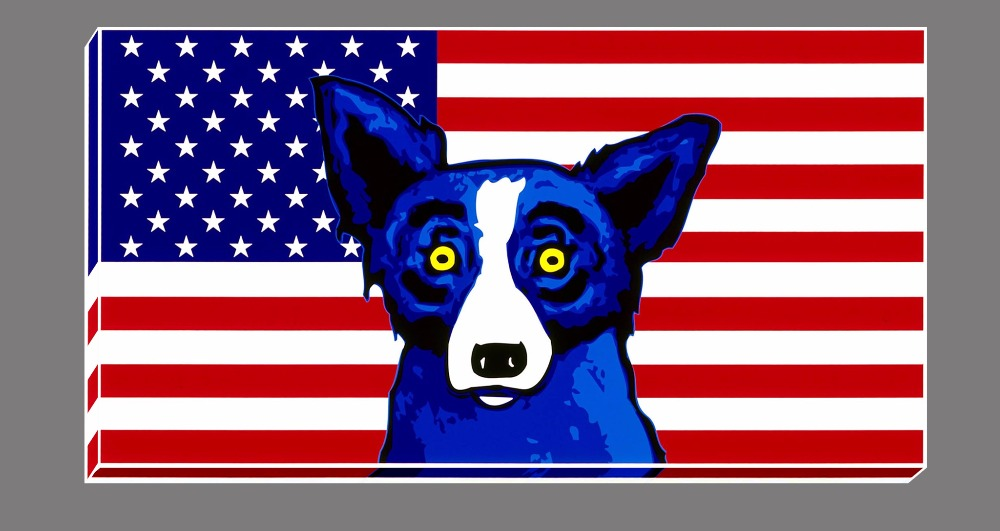country living room decor images diferencia entre and hall unframed hd canvas print american flag blue dog home ...