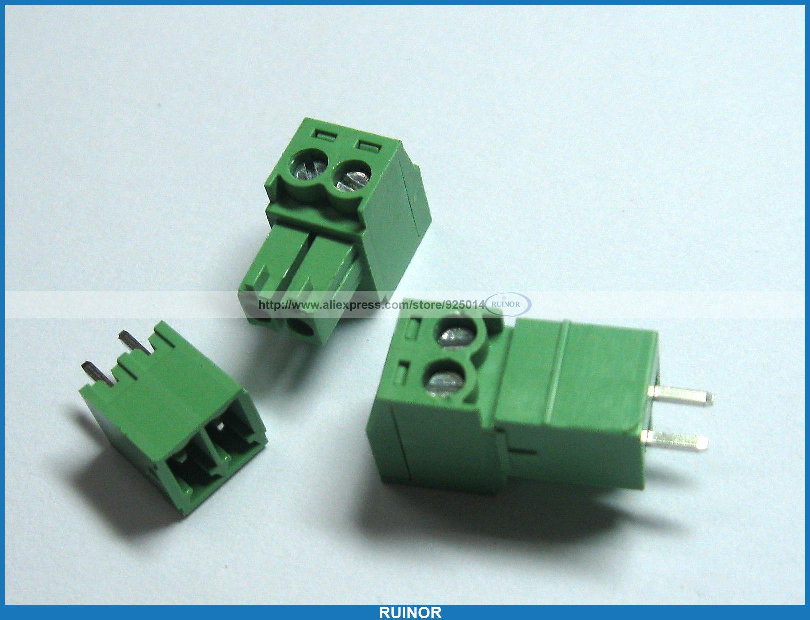 ФОТО 150 Pcs Screw Terminal Block Connector 3.5mm 2 Pin Way Green Pluggable Type