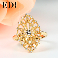 EDI Romantic Style 3mm Topaz 925 Sterling Silver Ring For Women 18k Yellow Gold Plated Vintage