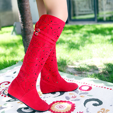 low heel boots spring and autumn women's shoes fashion knitted cutout boots Crochet Boots plus size 34-43