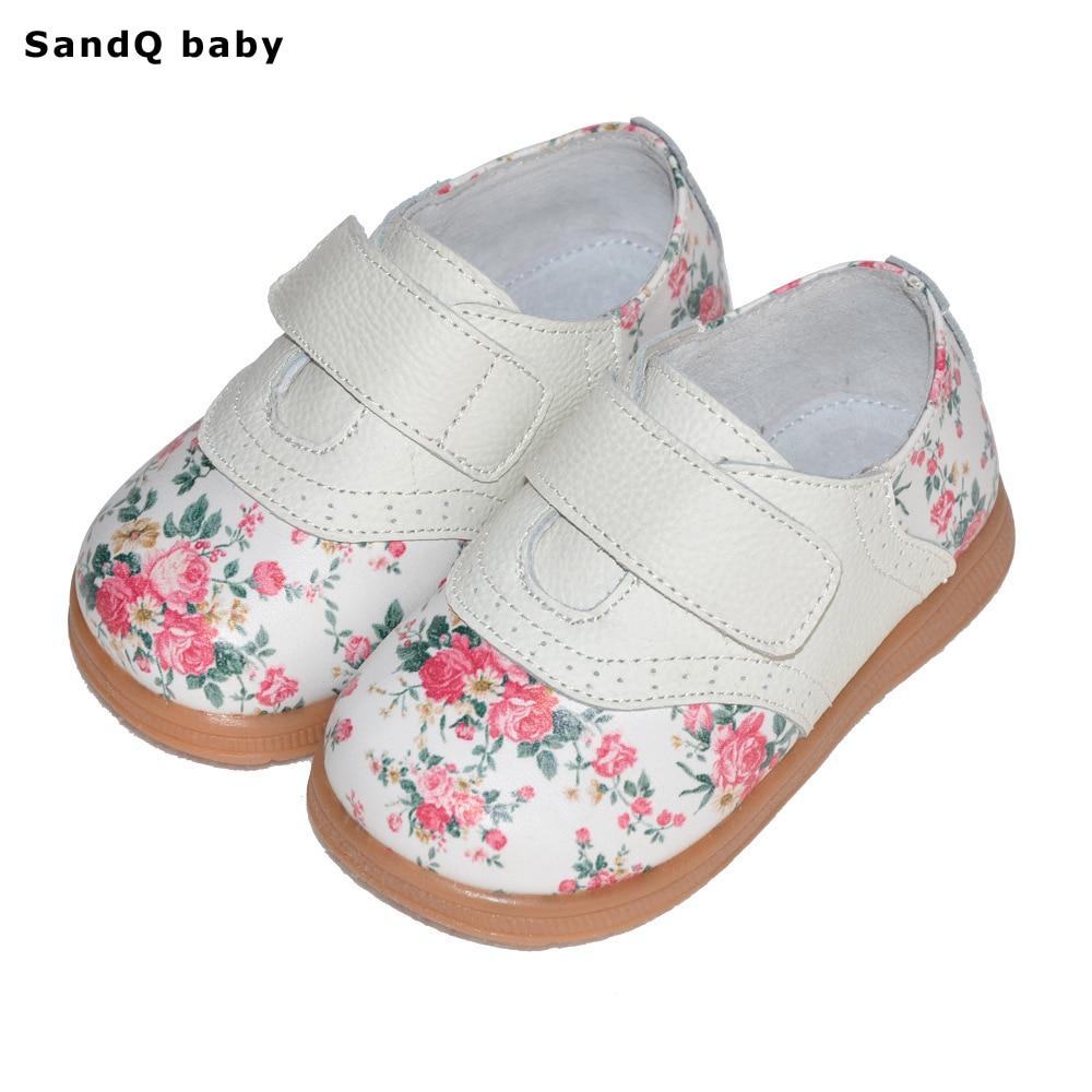 2019 새로운 봄 어린이 캐주얼 신발 정품 가죽 꽃 인쇄 어린이 신발 통풍 평면 소녀 공주 신발 Chaussure