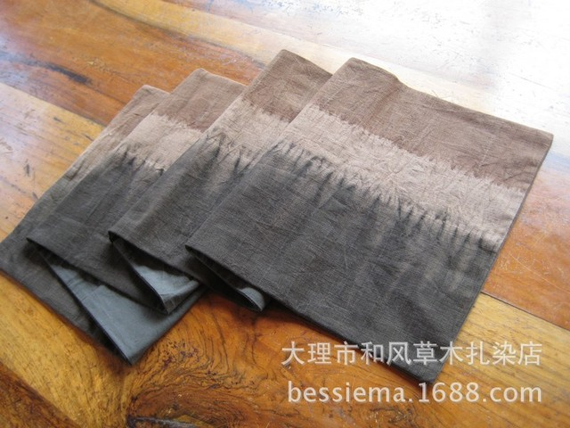 Hand Woven Grass Mat Japanese Style Tea Dyed Cloth Table Runner Placemats  Long Double