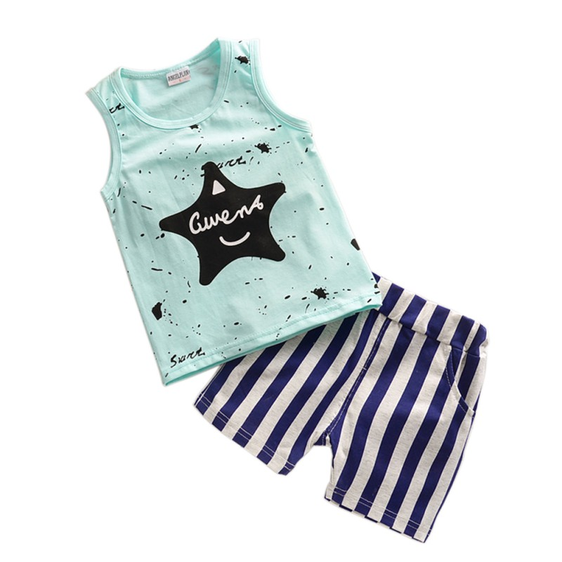 Newborn Baby Boy Clothes Star Cotton Vest Tops +Striped Pant 2PCS Outfit Toddler Kids Summer Clothing Set
