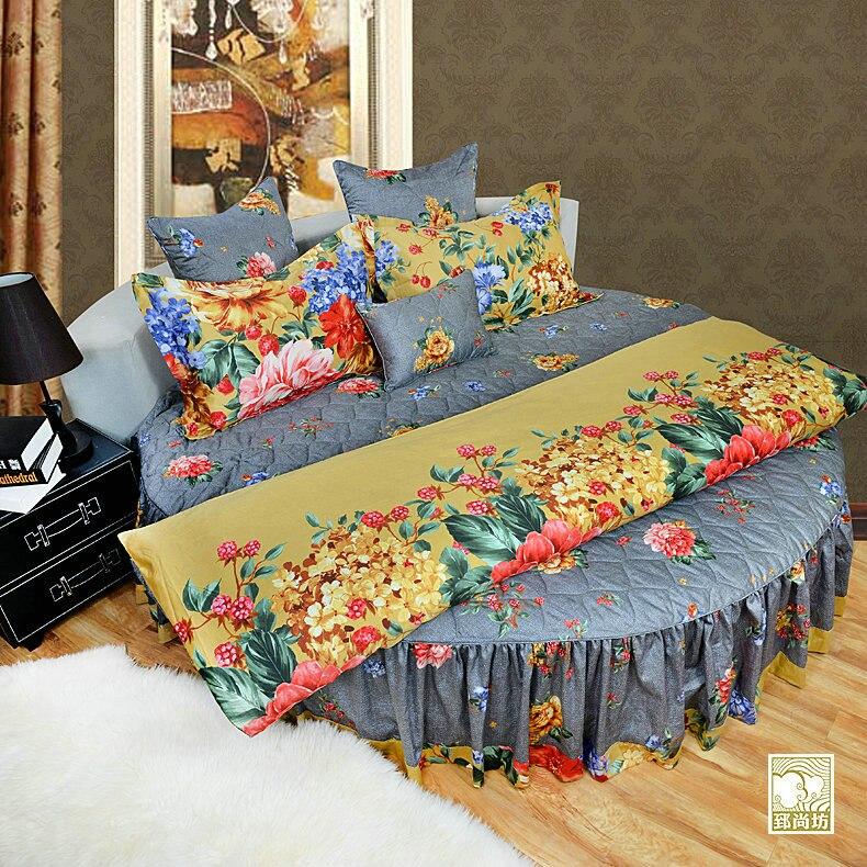 100% katoen kwaliteit satijn rond bed 4-delig beddengoed set katoenen - Thuis textiel