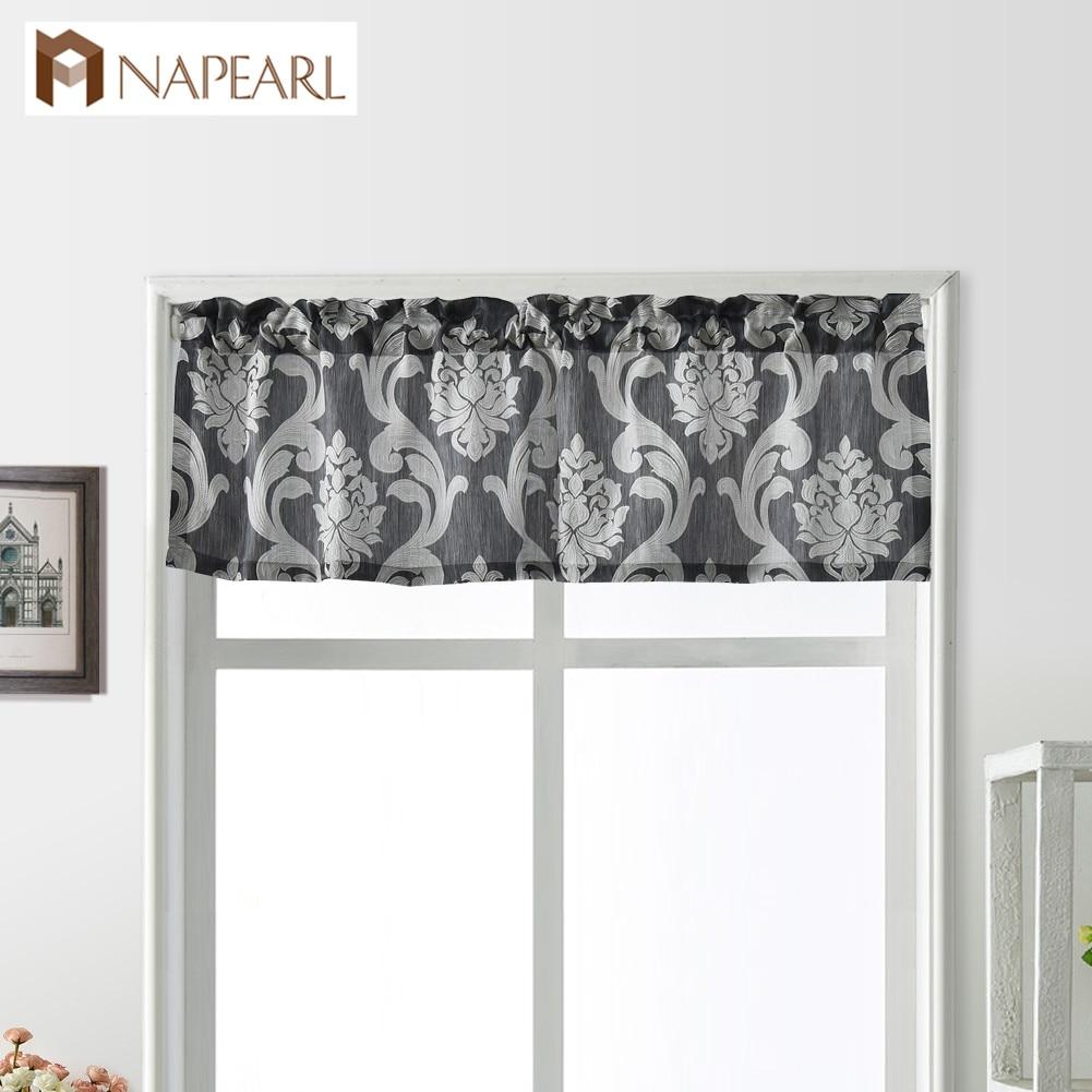 NAPEARL 1 Piece European Luxury Drops Valance Short Curtains Home Decor Rustic Thread Rod Pocket Elegant Bedroom Kitchen